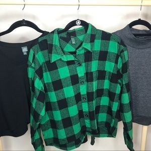 Wild fable crop Top Lot Flannel, Black, grey tops
